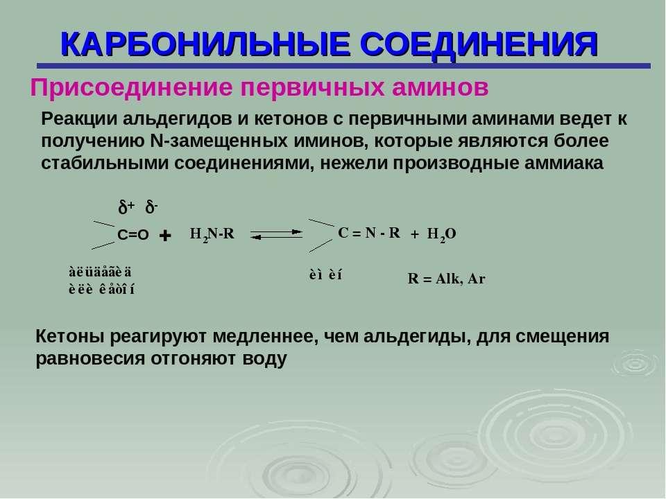 КАРБОНИЛЬНЫЕ СОЕДИНЕНИЯ Реакции альдегидов и кетонов с первичными аминами вед...