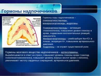 Гормоны надпочечников Гормоны коры надпочечников – глюкокортикостероиды, мине...