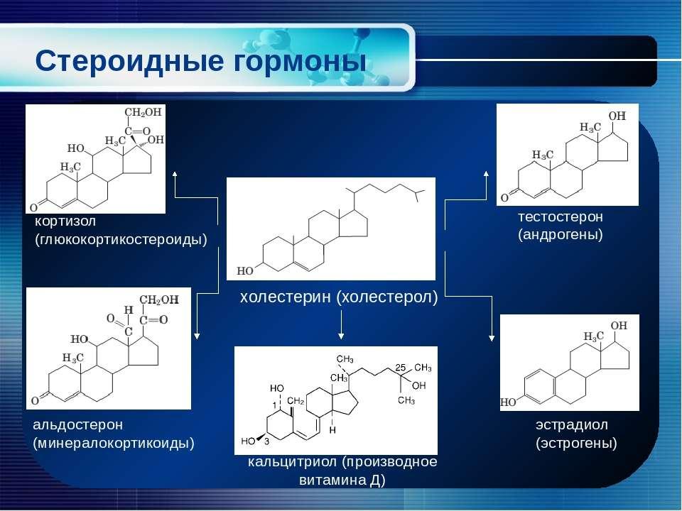 Стероидные гормоны холестерин (холестерол) эстрадиол (эстрогены) альдостерон ...