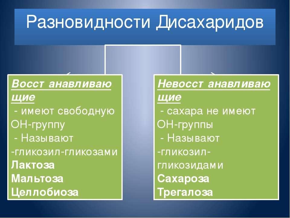 Разновидности Дисахаридов Восстанавливающие - имеют свободную ОН-группу - Наз...