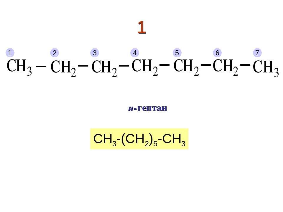 1 1 2 3 4 5 6 7 гептан н- CH3-(CH2)5-CH3