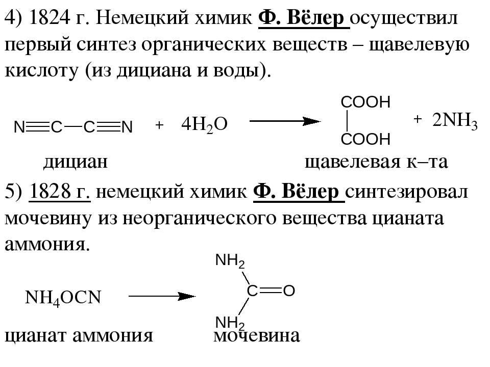 4) 1824 г. Немецкий химик Ф. Вёлер осуществил первый синтез органических веще...