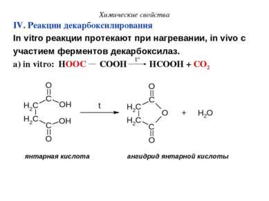 Химические свойства IV. Реакции декарбоксилирования In vitro реакции протекаю...