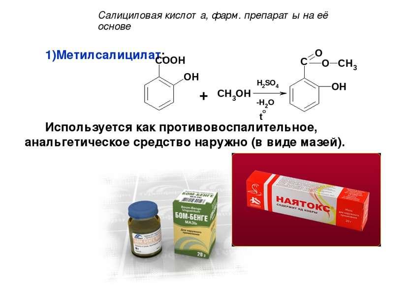Метилсалицилат: Используется как противовоспалительное, анальгетическое средс...