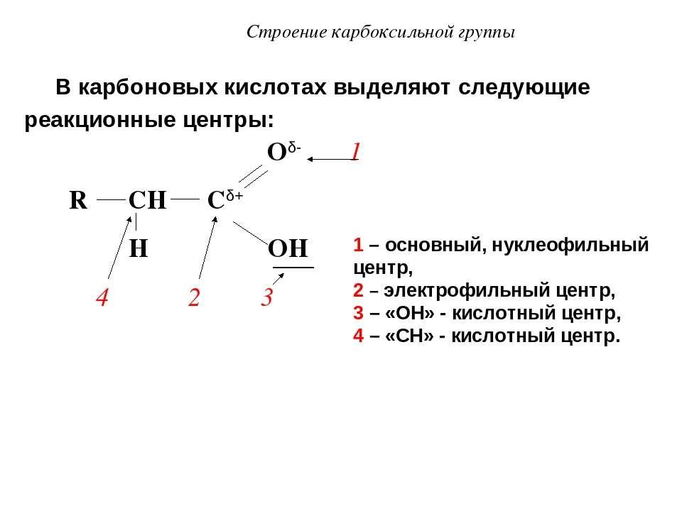 Строение карбоксильной группы В карбоновых кислотах выделяют следующие реакци...