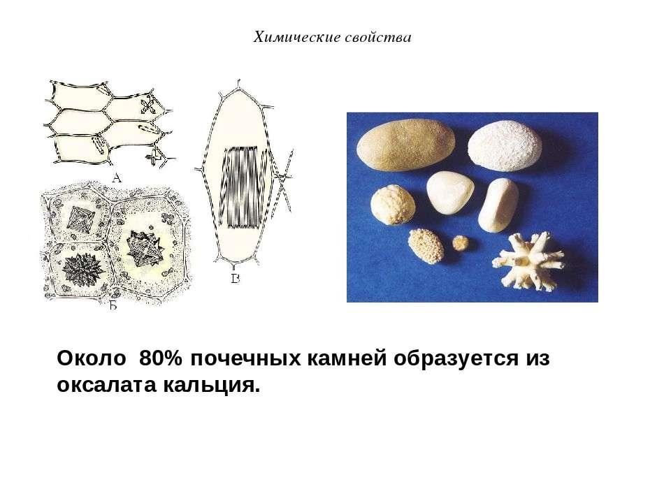 Около 80% почечных камней образуется из оксалата кальция. Химические свойства