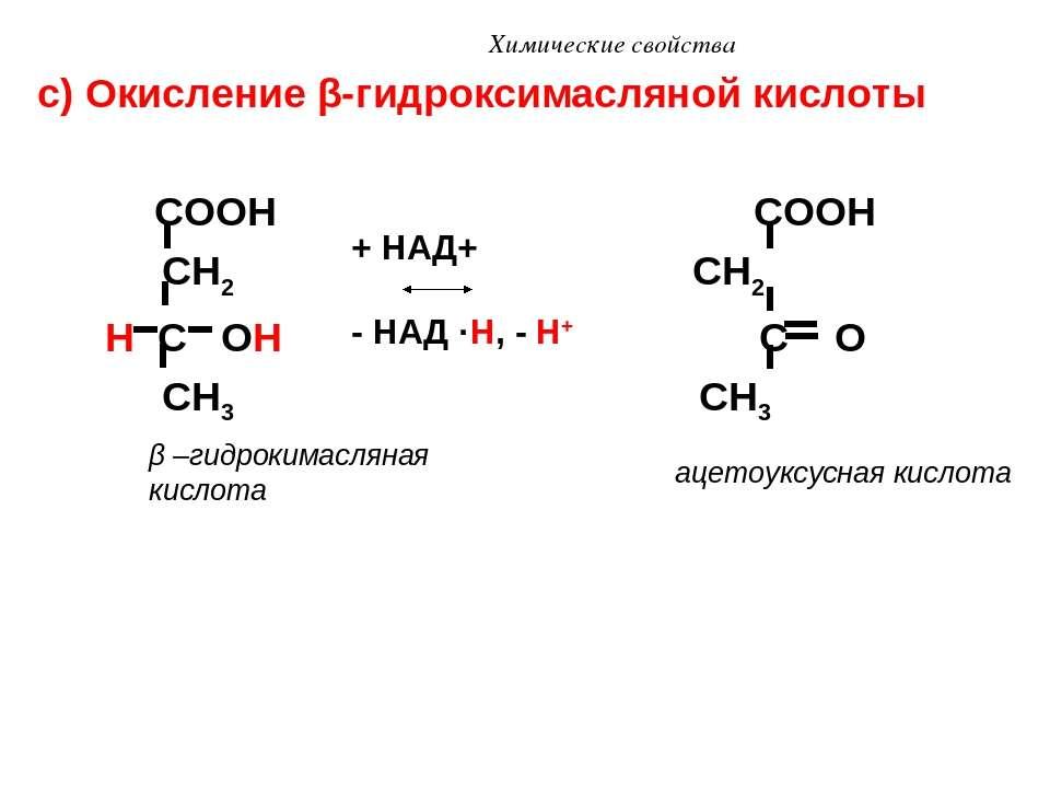 Химические свойства с) Окисление β-гидроксимасляной кислоты COOH COOH CH2 CH2...