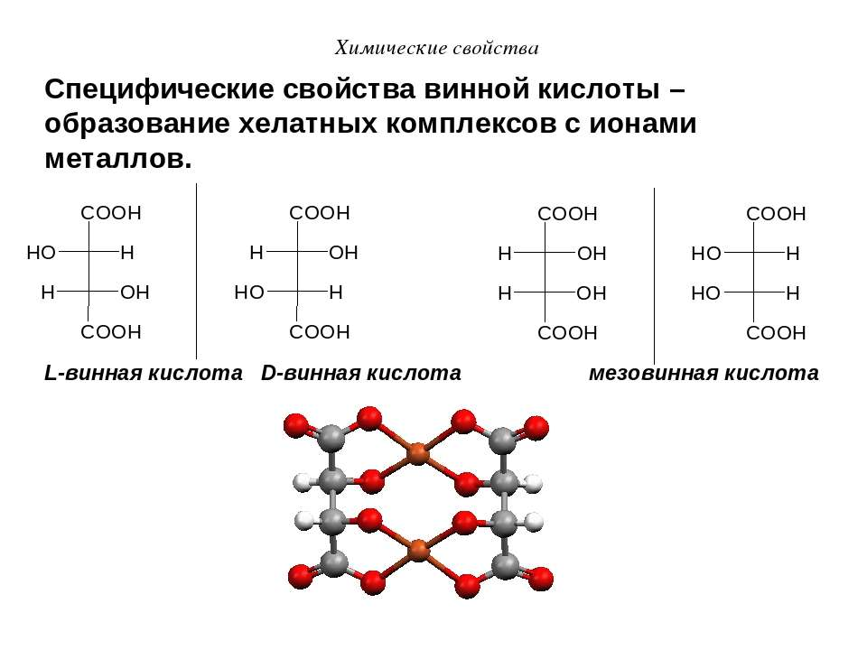 Химические свойства Специфические свойства винной кислоты – образование хелат...