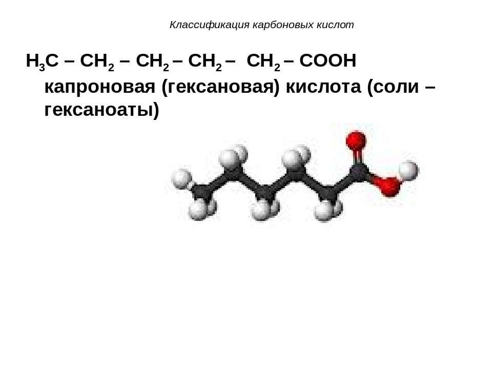 Классификация карбоновых кислот H3C – CH2 – CH2 – CH2 – CH2 – COOH капроновая...
