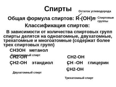 Спирты Общая формула спиртов: R-(OH)n Классификация спиртов: В зависимости от...