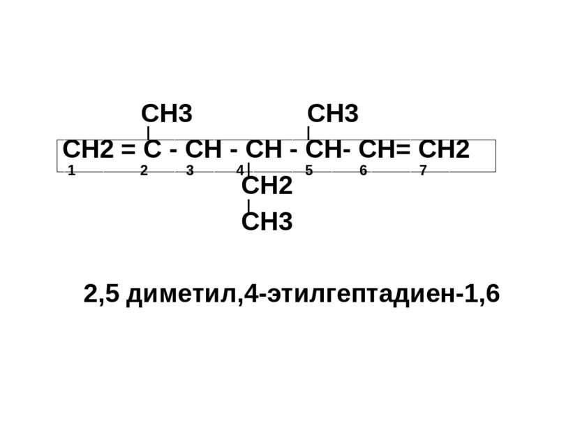 СН3 СН3 СН2 = С - СН - СН - СН- СН= СН2 СН2 СН3 2,5 диметил,4-этилгептадиен-1...
