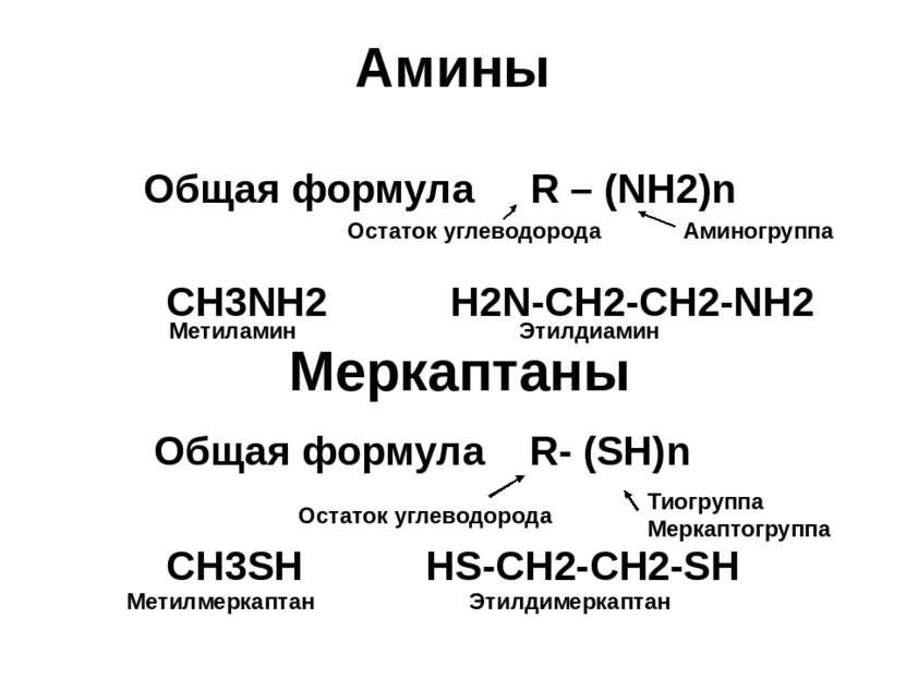 Амины Общая формула R – (NH2)n CH3NH2 H2N-CH2-CH2-NH2 Меркаптаны Общая формул...