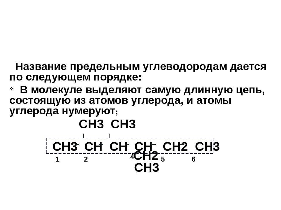 Название предельным углеводородам дается по следующем порядке: В молекуле выд...