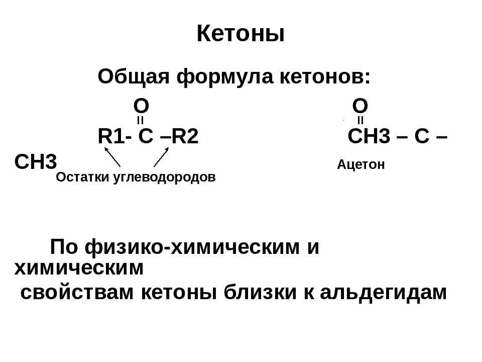Кетоны Oбщая формула кетонов: O O R1- C –R2 CH3 – C – CH3 По физико-химически...