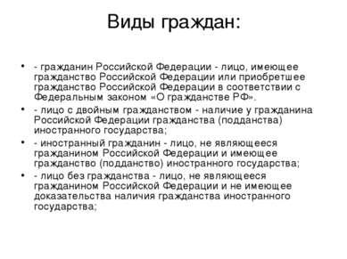 Виды граждан: - гражданин Российской Федерации - лицо, имеющее гражданство Ро...