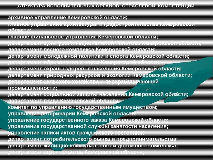 СТРУКТУРА ИСПОЛНИТЕЛЬНЫХ ОРГАНОВ ОТРАСЛЕВОЙ КОМПЕТЕНЦИИ архивное управление К...