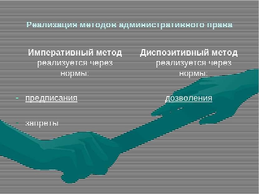 Реализация методов административного права Императивный метод реализуется чер...