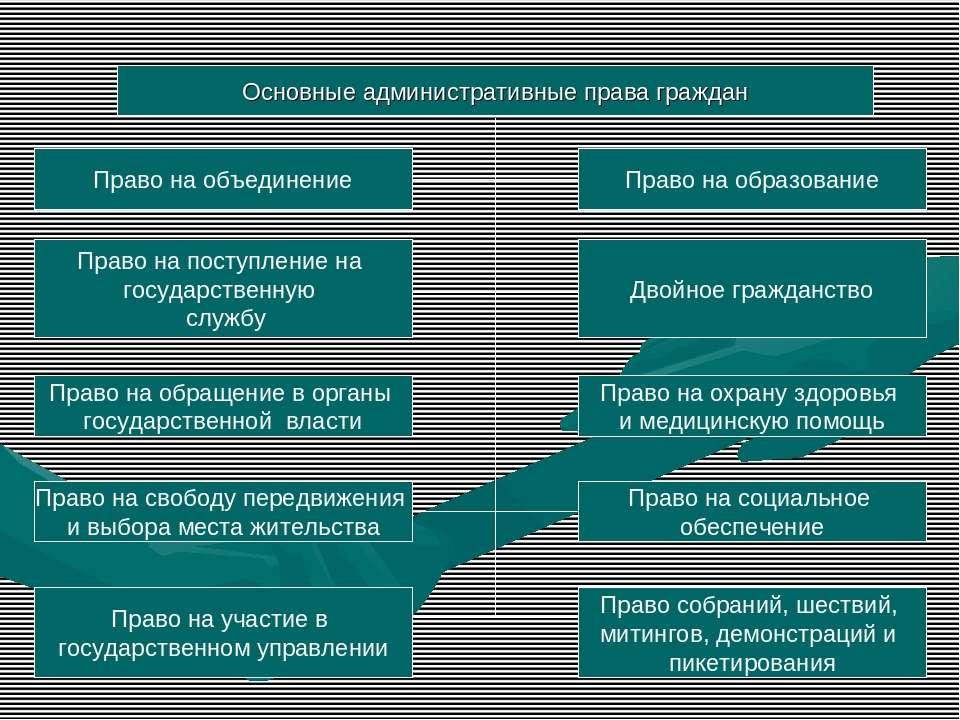 Основные административные права граждан Право на объединение Право на поступл...