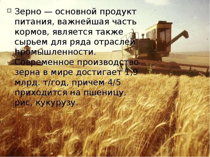 Зерно — основной продукт питания, важнейшая часть кормов, является также сырь...