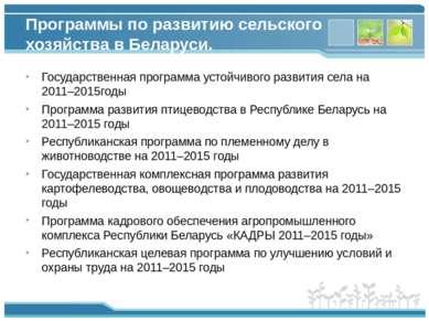 Программы по развитию сельского хозяйства в Беларуси. Государственная програм...