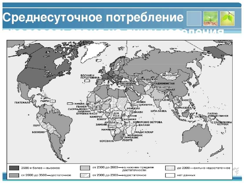Среднесуточное потребление продовольствия на душу населения, ккал [1] www.the...