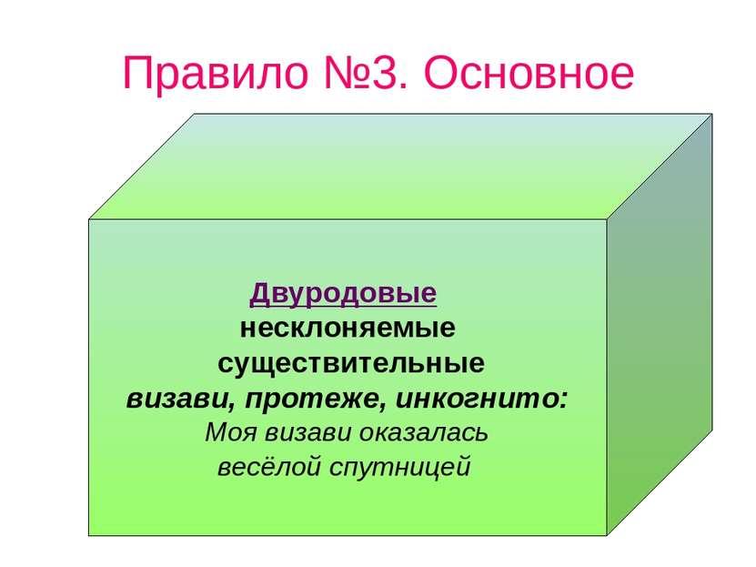 Правило №3. Основное Двуродовые несклоняемые существительные визави, протеже,...