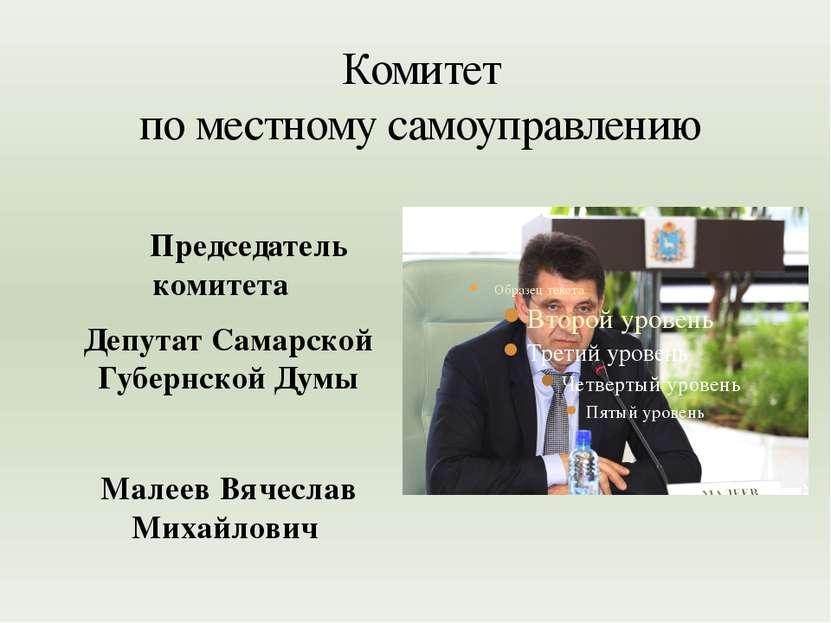 Комитет по местному самоуправлению Председатель комитета Депутат Самарской Гу...