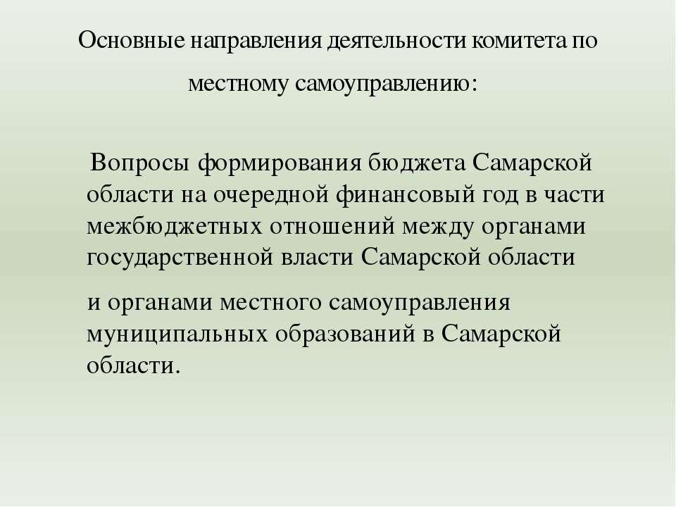 Вопросы формирования бюджета Самарской области на очередной финансовый год в ...