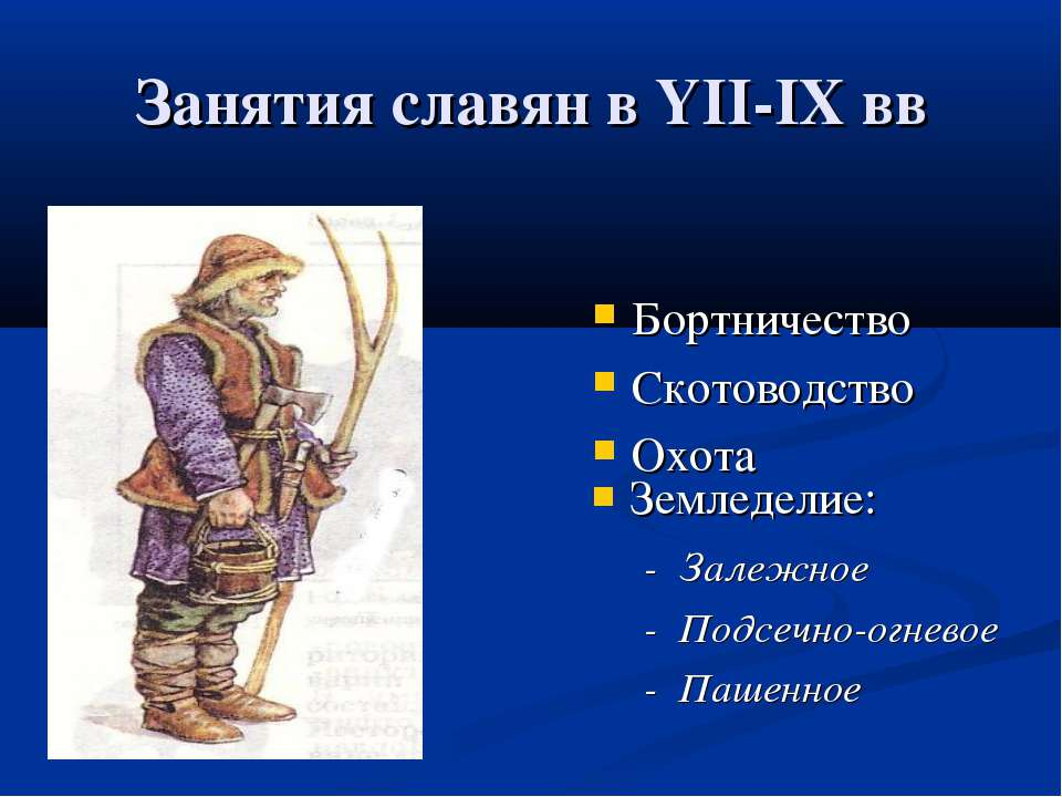 Занятия славян в YII-IХ вв Бортничество Скотоводство Охота Земледелие: - Зале...