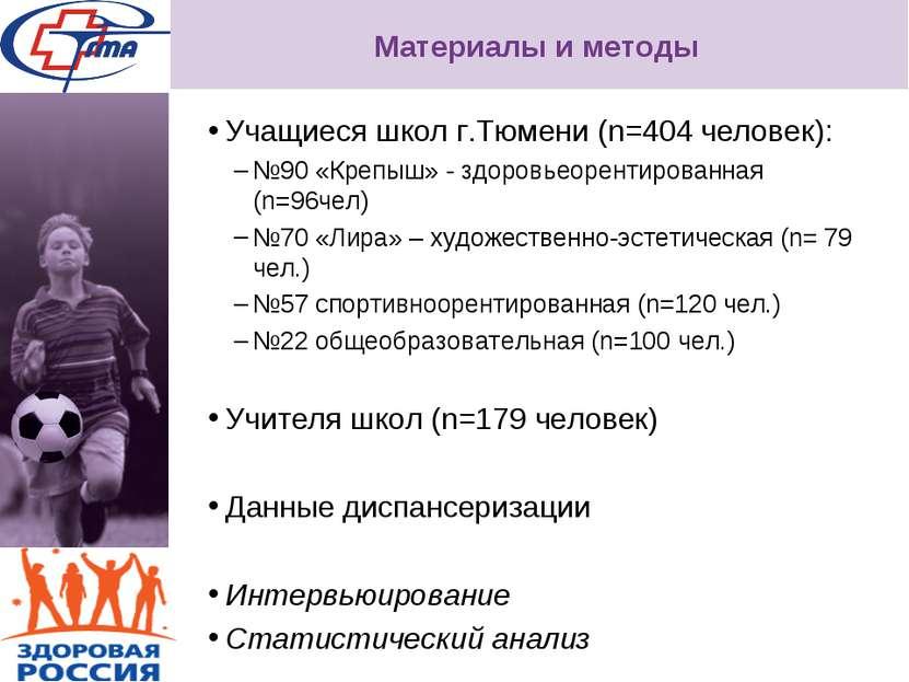 Материалы и методы Учащиеся школ г.Тюмени (n=404 человек): №90 «Крепыш» - здо...