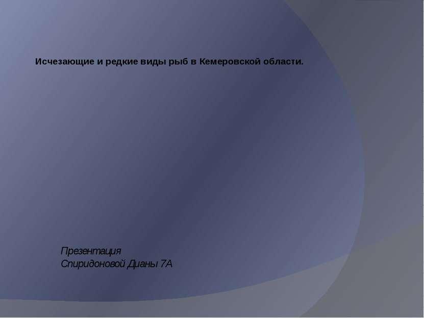 Исчезающие и редкие виды рыб в Кемеровской области. Презентация Спиридоновой ...