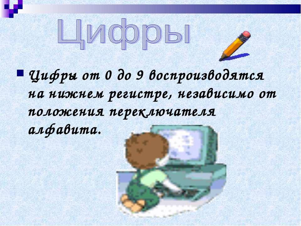 Цифры от 0 до 9 воспроизводятся на нижнем регистре, независимо от положения п...