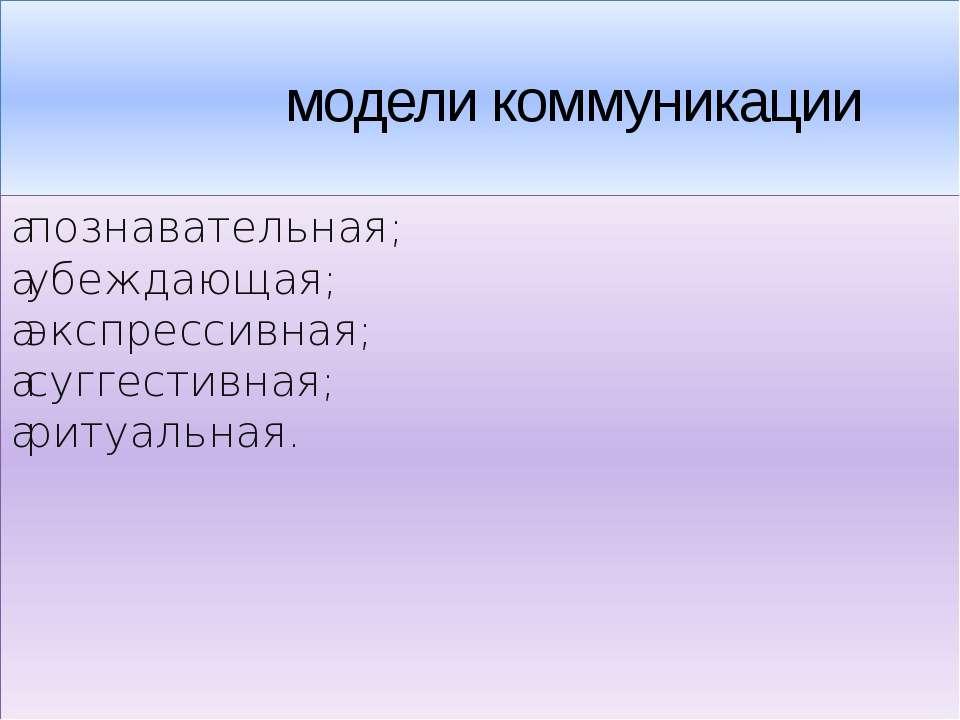 модели коммуникации •познавательная; •убеждающая; •экспрессивная; •суггести...