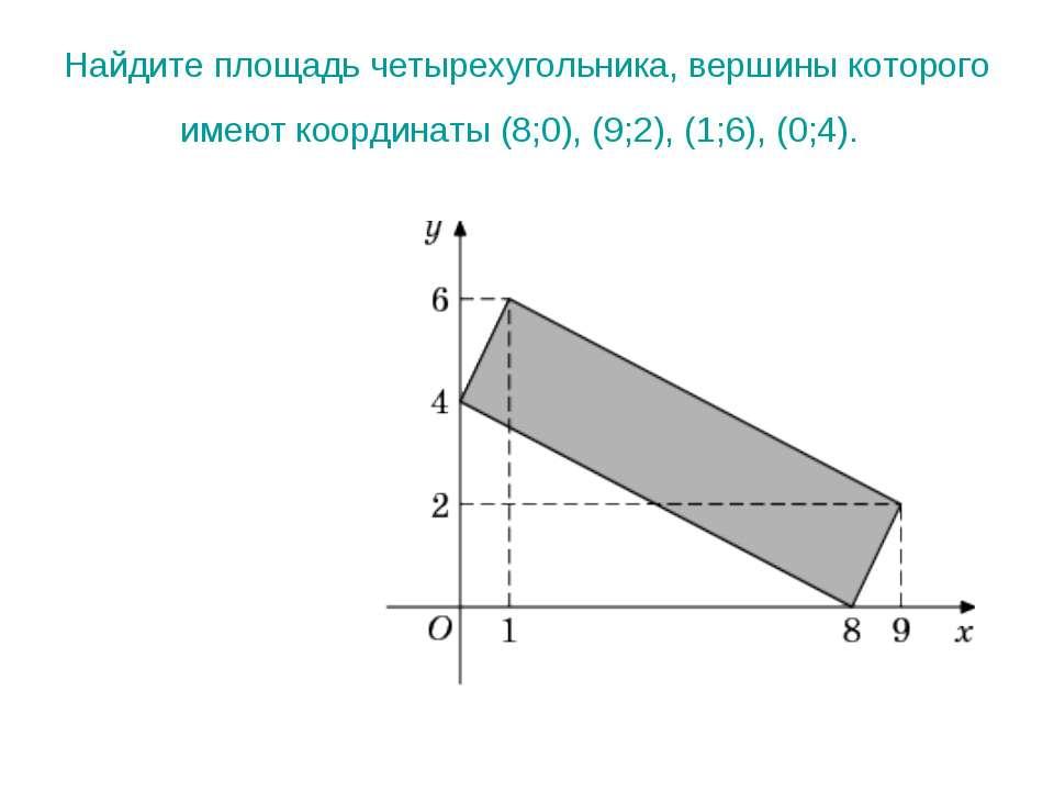 Найдите площадь четырехугольника, вершины которого имеют координаты (8;0), (9...