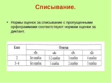 Списывание. Нормы оценок за списывание с пропущенными орфограммами соответств...