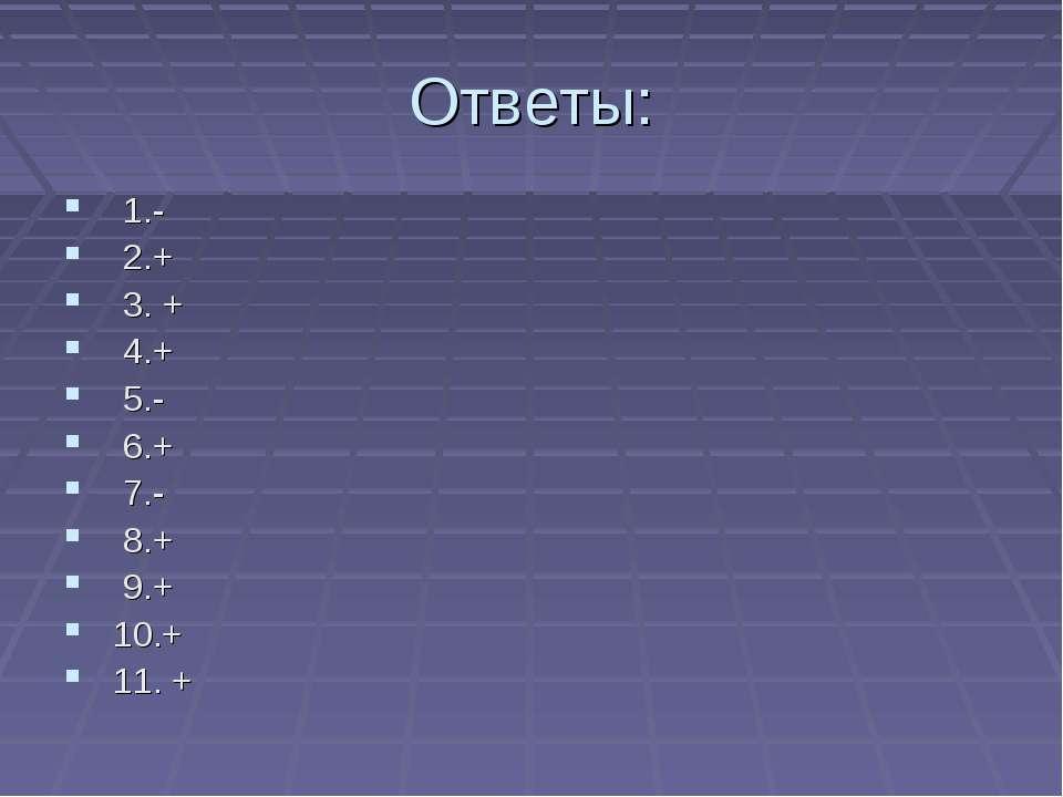 Ответы: 1.- 2.+ 3. + 4.+ 5.- 6.+ 7.- 8.+ 9.+ 10.+ 11. +
