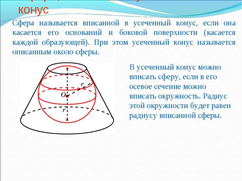 Сфера, вписанная в усеченный конус Сфера называется вписанной в усеченный кон...