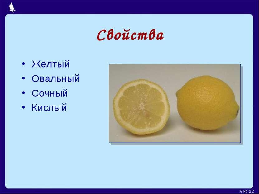Свойства Желтый Овальный Сочный Кислый Москва, 2006 г. * из 12