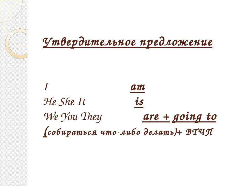 Утвердительное предложение I am He She It is We You They are + going to (соби...