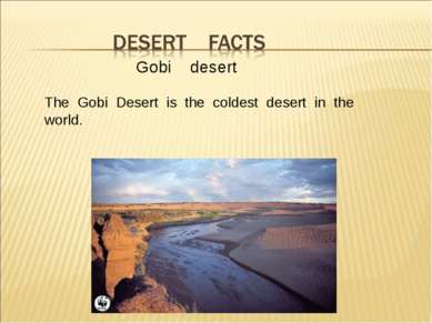 Gobi desert The Gobi Desert is the coldest desert in the world.