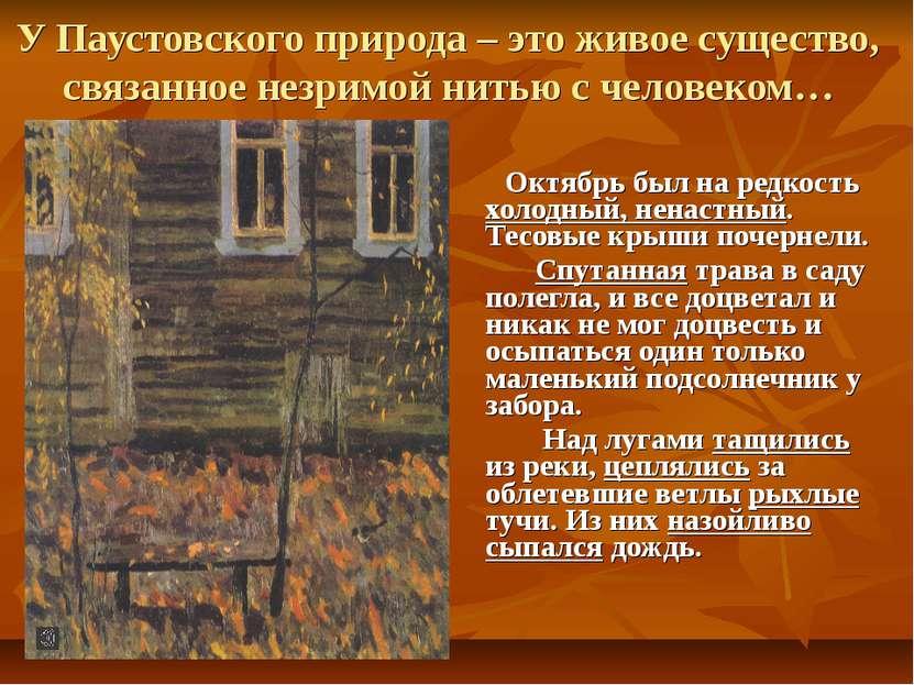 У Паустовского природа – это живое существо, связанное незримой нитью с челов...