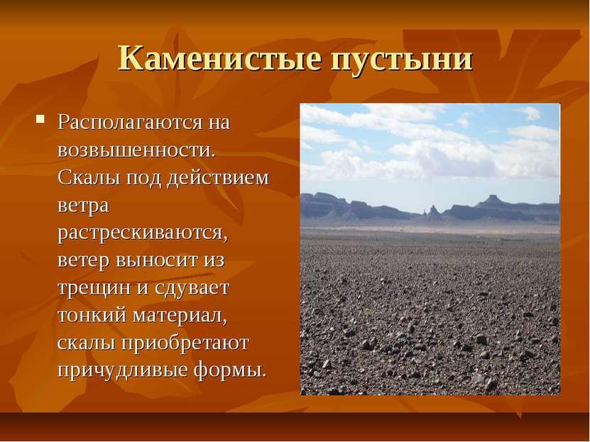 Каменистые пустыни Располагаются на возвышенности. Скалы под действием ветра ...