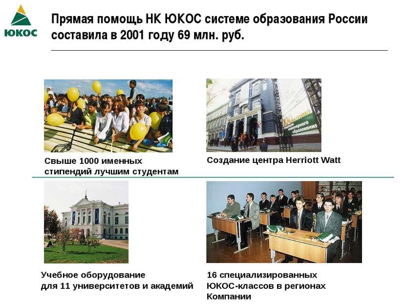 Прямая помощь НК ЮКОС системе образования России составила в 2001 году 69 млн...