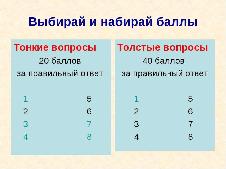 Выбирай и набирай баллы Тонкие вопросы 20 баллов за правильный ответ 1 5 2 6 ...