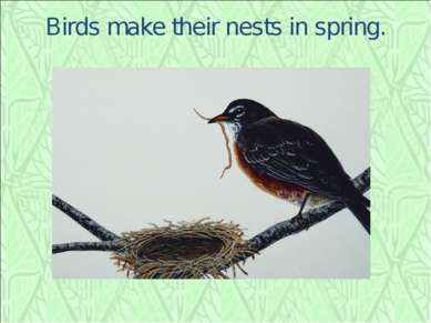 Birds make their nests in spring.