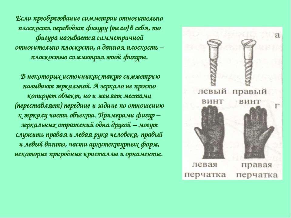Если преобразование симметрии относительно плоскости переводит фигуру (тело) ...