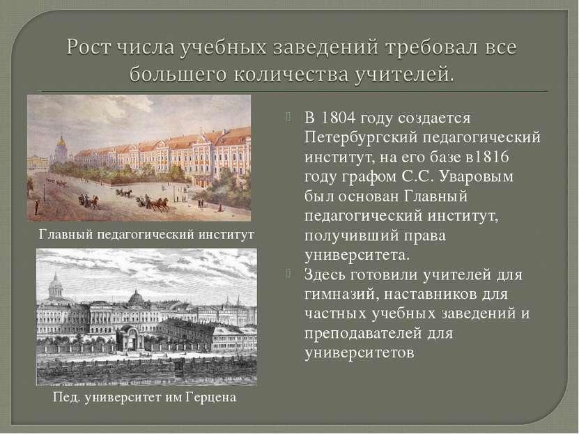В 1804 году создается Петербургский педагогический институт, на его базе в181...