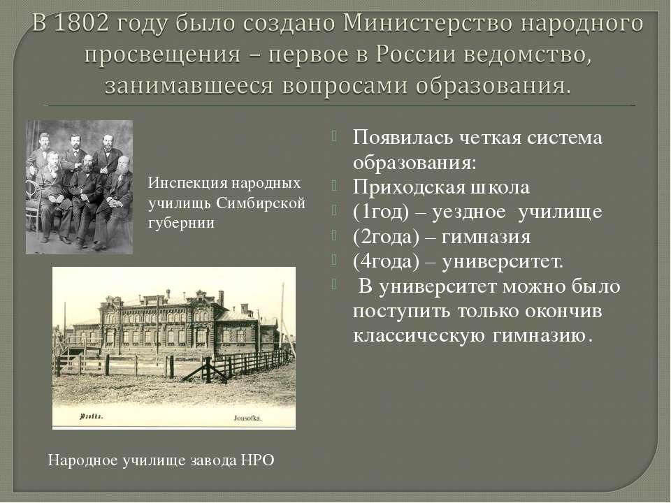 Появилась четкая система образования: Приходская школа (1год) – уездное учили...