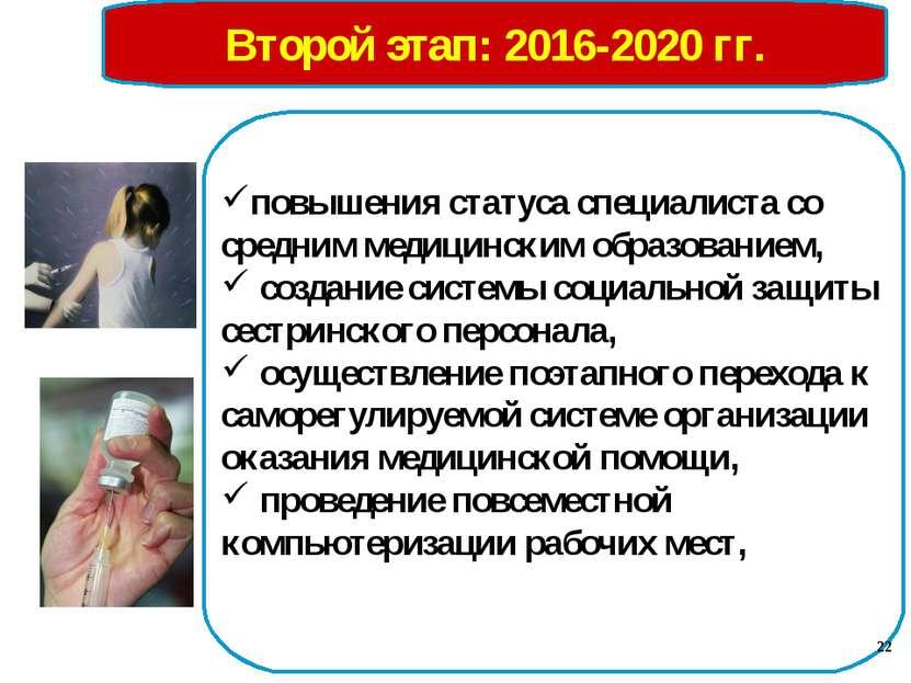 Второй этап: 2016-2020 гг. повышения статуса специалиста со средним медицинск...