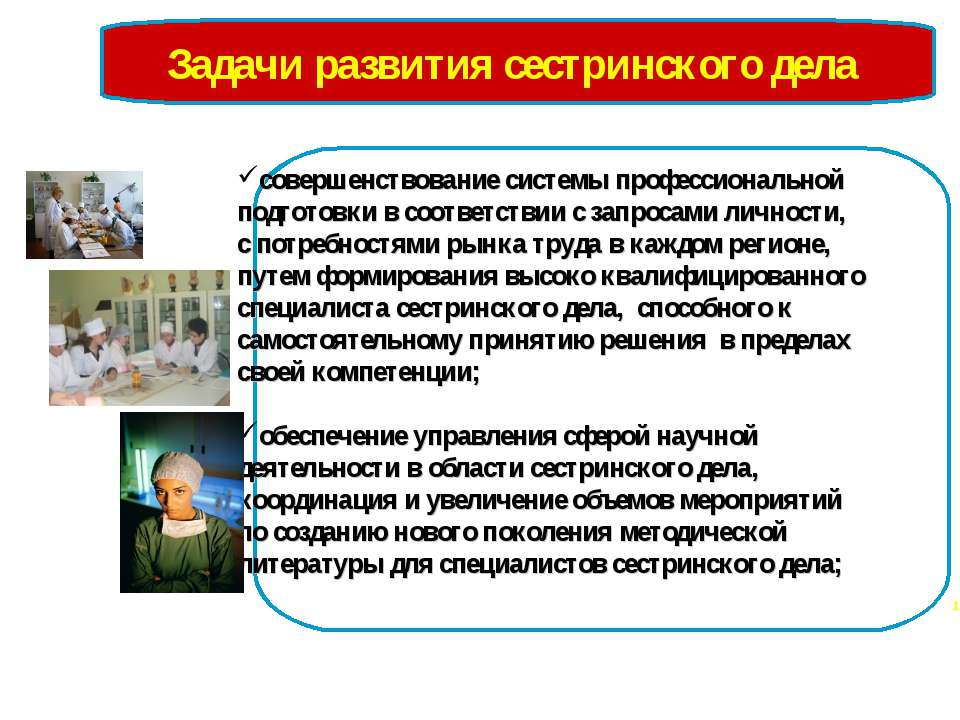 Задачи развития сестринского дела совершенствование системы профессиональной ...